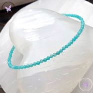 Amazonite Micro Faceted Beaded Bracelet Silver